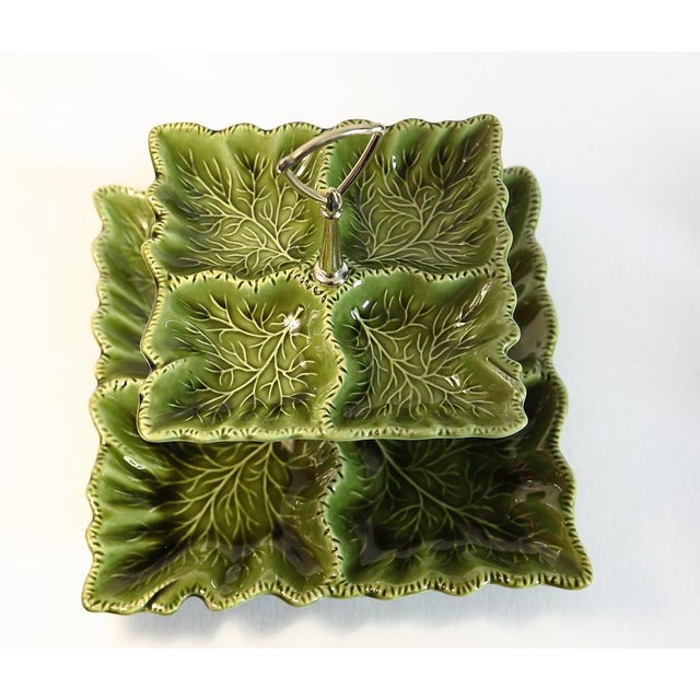 Modern Green Tiered Serving Dish For Sale - Image 3 of 8