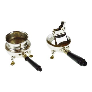 Vintage Rhodium Finish Lighter & Ashtray Set For Sale