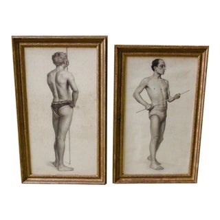 Near Pair of Male Nude Academic Drawings For Sale