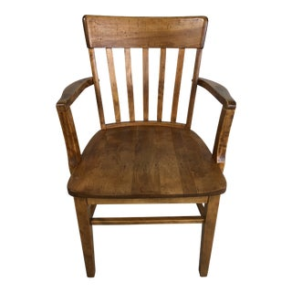 Vintage Maple Wood Desk Chair With Arms For Sale