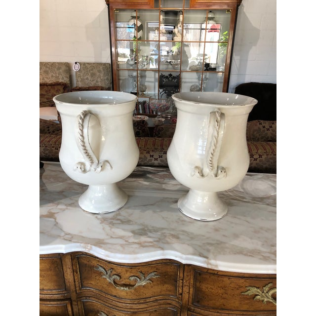 2010s Fortunata Italian Ceramic White Urns - a Pair For Sale - Image 5 of 13