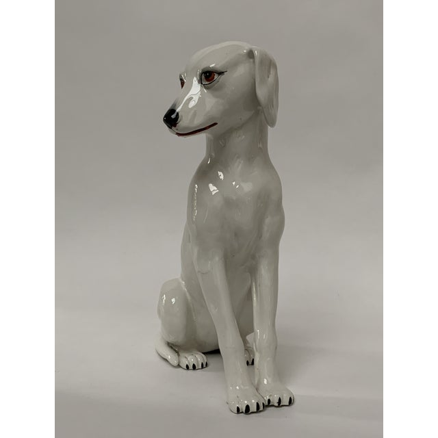 Final Markdown Large Italian White Ceramic Greyhound Dog Puppy Figure For Sale - Image 4 of 13