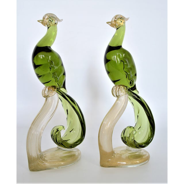Boho Chic 1950s Murano Glass Bird Figurines Sculptures- a Pair For Sale - Image 3 of 12