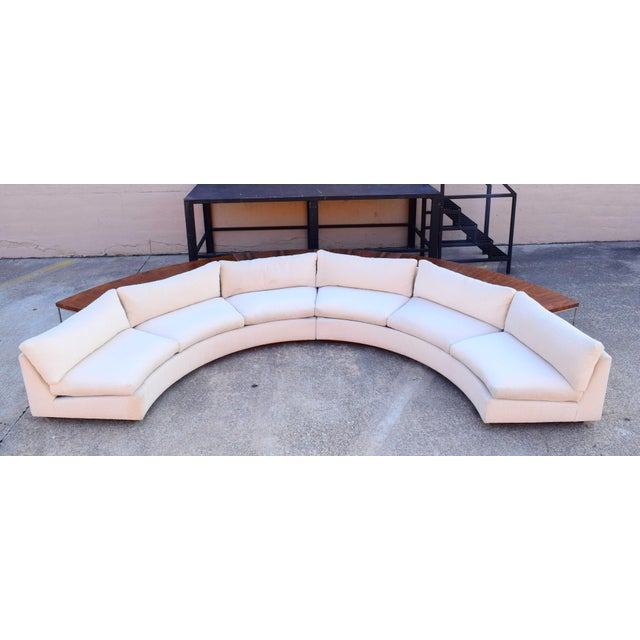 1960s Vintage Milo Baughman Semi-Circular Sofa With Rosewood Tables For Sale - Image 12 of 13