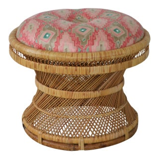 Mid-Century Woven Rattan Stool For Sale