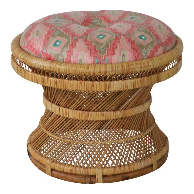 Mid-Century Woven Rattan Stool For Sale