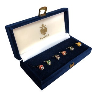 Fabergé Egg Wine Glass Charms in Velvet Presentation Case - Set of 6 For Sale
