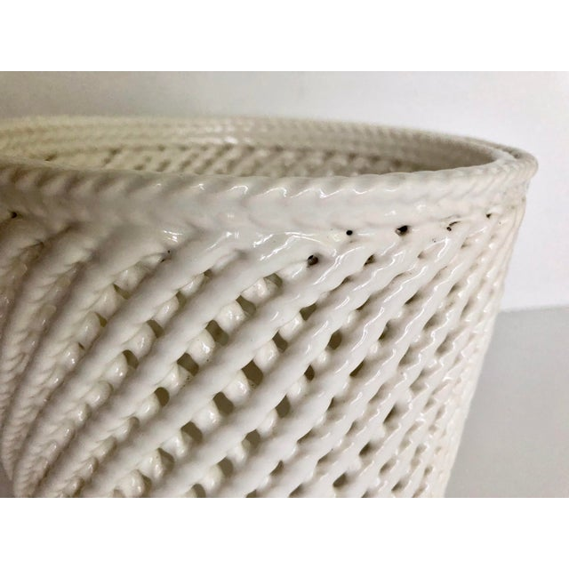 Vintage White Ceramic Lattice Flower Pot For Sale - Image 4 of 11