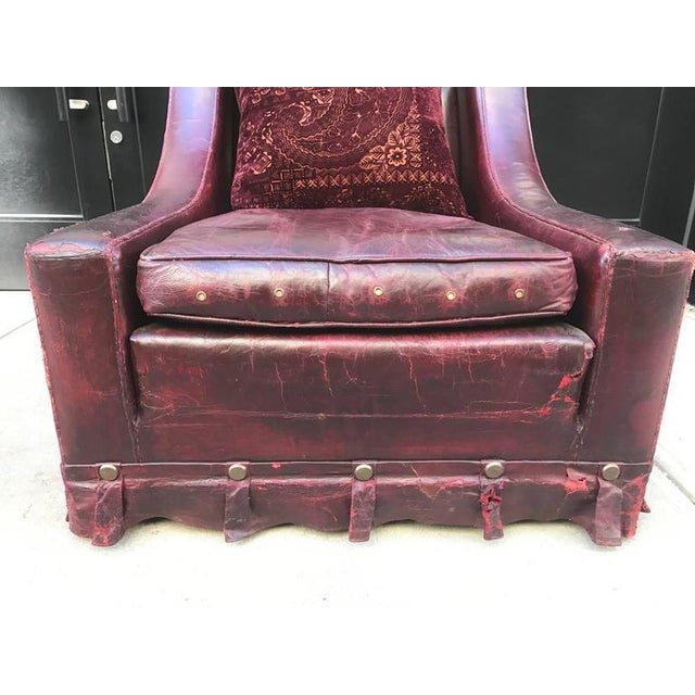 1940s French Vintage Leather Lounge Chair For Sale - Image 5 of 9 - Luxury French Vintage Leather Lounge Chair DECASO