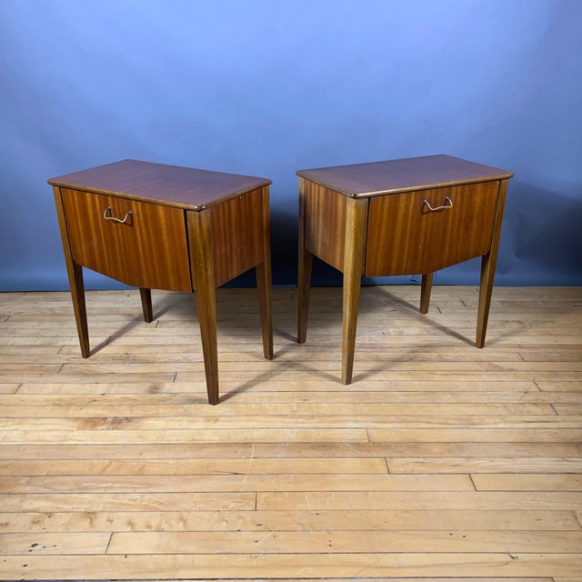 Pair 1950s Drop-Front Nightstands, Mahogany & Brass For Sale - Image 9 of 9