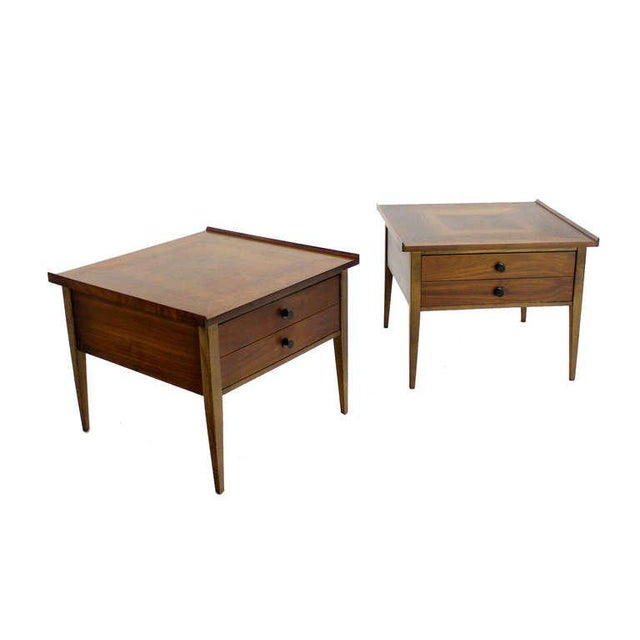 1960s Pair of Danish Mid-Century Modern Walnut End Tables For Sale - Image 5 of 8