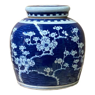 Chinese Blue White Porcelain Blossom Flowers Graphic Ginger Jar For Sale