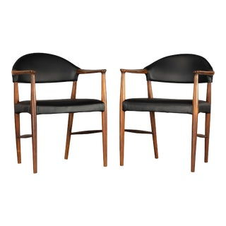 Danish Rosewood and Leather Chairs by Kurt Olsen - a Pair For Sale