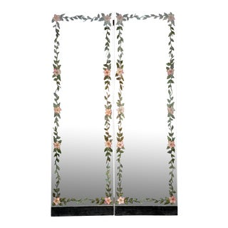 French Antique Smoked Glass Art Deco Mirror Hand Painted Floral Folding Screen Divider For Sale