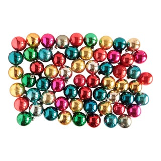 Vintage Colorful Glass Christmas Ornaments - Set of 60 For Sale
