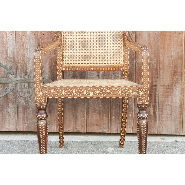Brown Bone Inlay Colonial Arm Chairs, Pair For Sale - Image 8 of 11