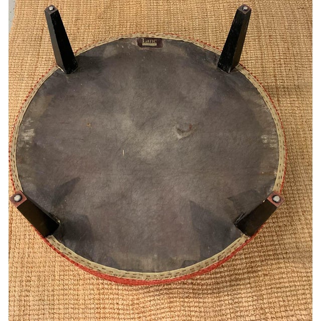 Black Large Mid Century Ottoman, Signed For Sale - Image 8 of 8