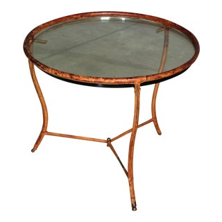 1950s Jacques Adnet Attributed Leather Occasional Table For Sale