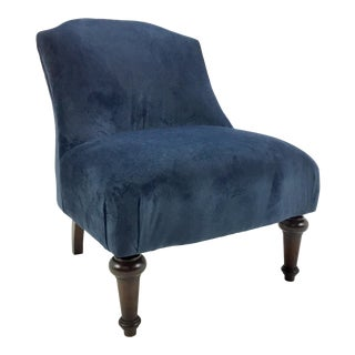 Celerie Kemble for Henredon Blue Velvet Chair For Sale