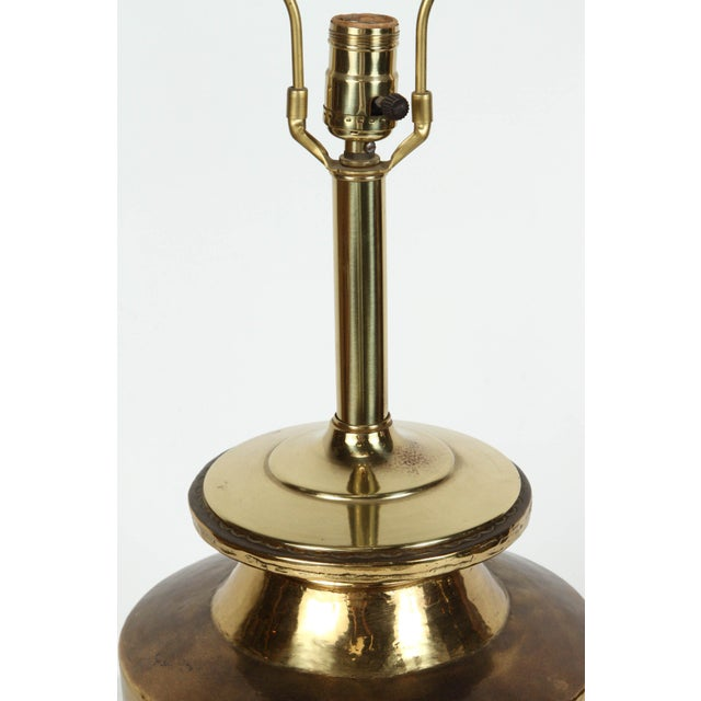 Mid 20th Century Pair of Polished Moroccan Brass Table Lamps For Sale - Image 5 of 9