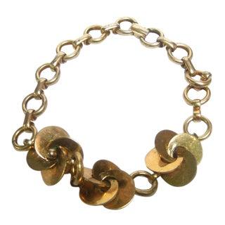 Hattie Carneigie Gilt Metal Choker Necklace For Sale