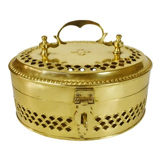 Early 20th Century Vintage Oval Brass Betle Nut Box Hinged Trinket Jewelry Box For Sale