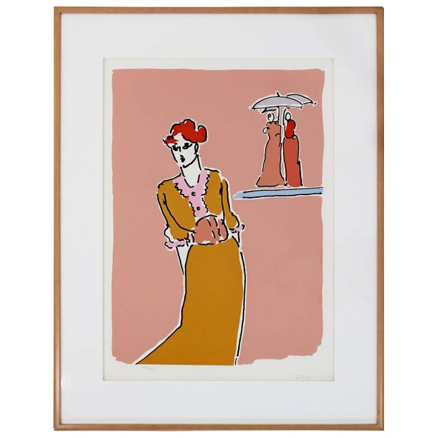 Printmaking Materials Mid-Century Modern Framed Print by Peter Max Two With Umbrellas Signed Numbered For Sale - Image 7 of 7