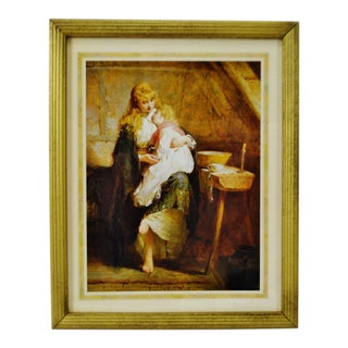 Vintage Framed 1991 Mother and Child Lithograph by George Elgar Hicks For Sale