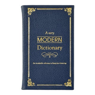 """""""A Very Modern Dictionary"""", Bonded Leather Book in Navy For Sale"""