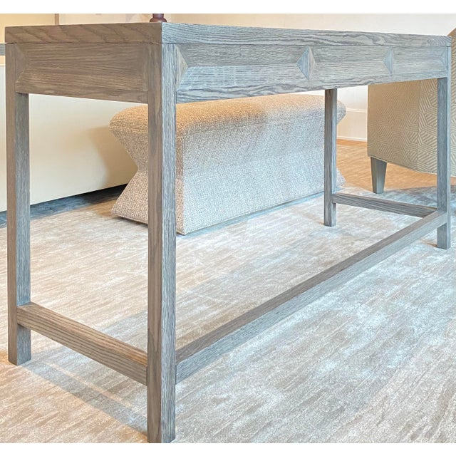 Transitional Gray Wooden Writing Desk For Sale In Houston - Image 6 of 8