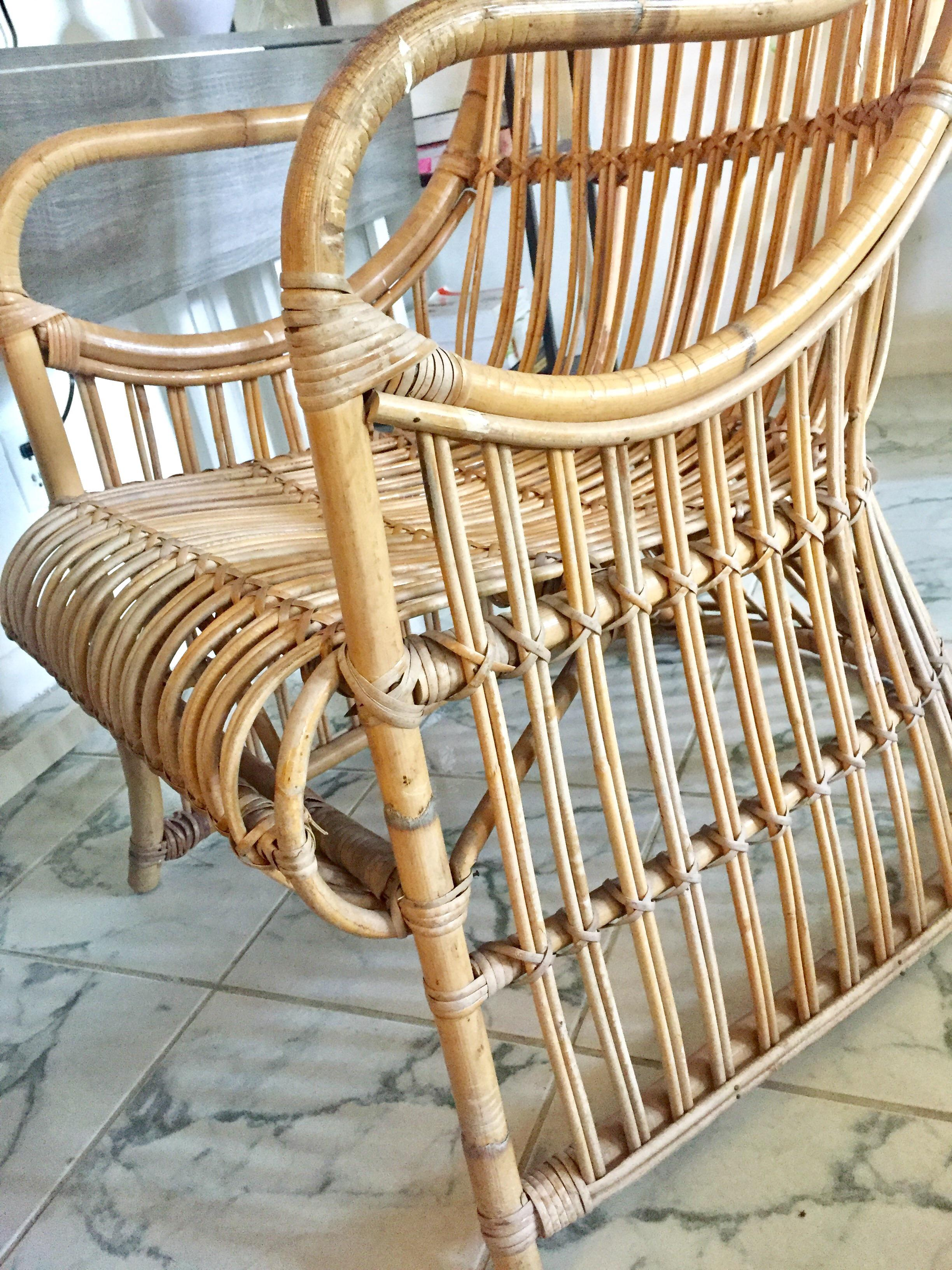 Vintage High Back Hooded Rattan Chair   Image 10 Of 11