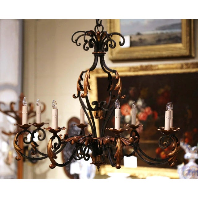 Early 20th Century French Louis XV Painted & Gilt Six-Light Iron Chandelier For Sale - Image 12 of 12