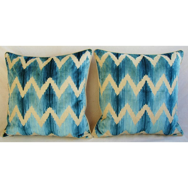 "Boho Chic Boho Chic Chevron Flamestitch Cut Aqua Velvet Feather/Down Pillows 24"" Square - Pair For Sale - Image 3 of 15"