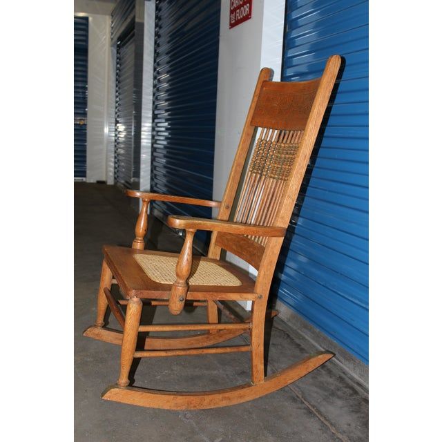 Traditional Early 1900s Wood Rocking Chair For Sale - Image 3 of 9