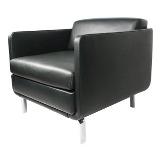 Black Leather Gaia Armchair For Sale