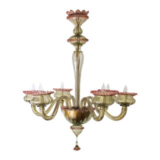 A Chic Murano 1950's Olive Green Glass 6-Light Chandelier With Pink Embellishments For Sale