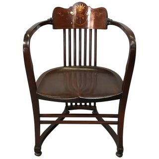 19th Century American Mahogany Armchair With Mother-Of-Pearl Detail For Sale