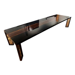 Piano Black High Gloss Conference/Dining Table With Live Edge Band For Sale
