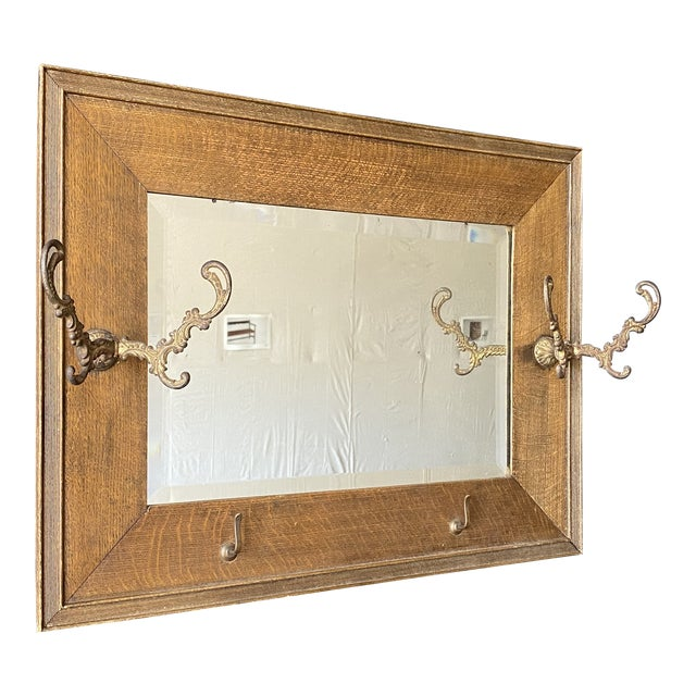 19th Century Oak Mirror With Hats Hooks For Sale