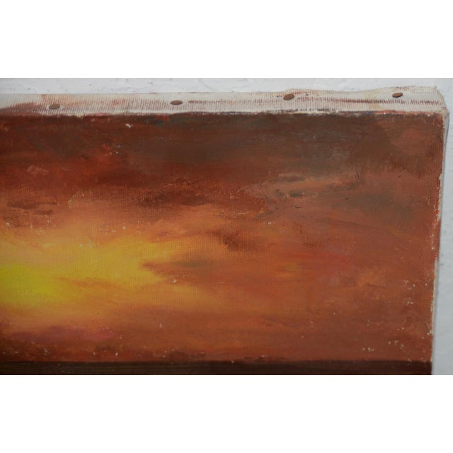 "Irina Roudakoff Belotelkin (january 1, 1913 – January 21, 2009) ""coastal Sunset"" Oil Painting C.1960s For Sale - Image 4 of 8"