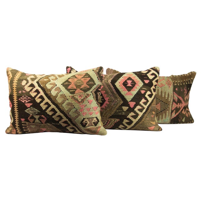 Kilim Green Lumbar Pillows - Set of 3 - Image 1 of 3