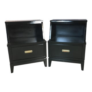 Mainline by Hooker Black Lacquered Nightstands - A Pair