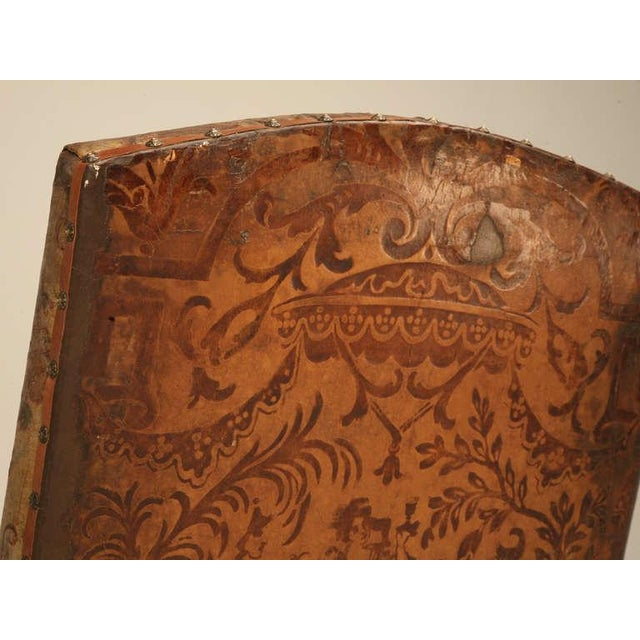 Brown Antique Embossed Painted & Gilded Leather Chair For Sale - Image 8 of 11
