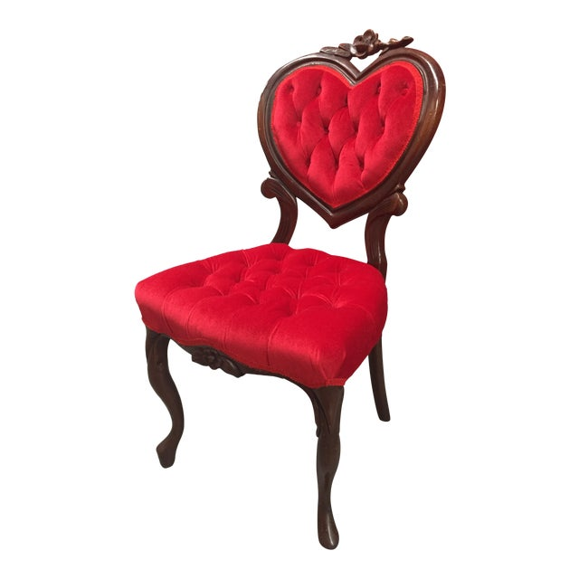 Vintage Red Heart Back Chair For Sale