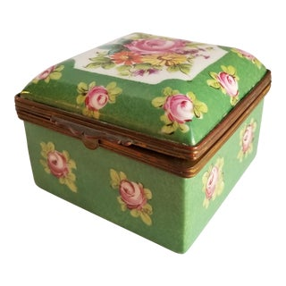 Antique French Porcelain Trinket Box For Sale