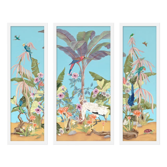"""Large """"Palm Beach Paradise, 3 Panels"""" Print by Allison Cosmos, 47"""" X 40"""" For Sale"""