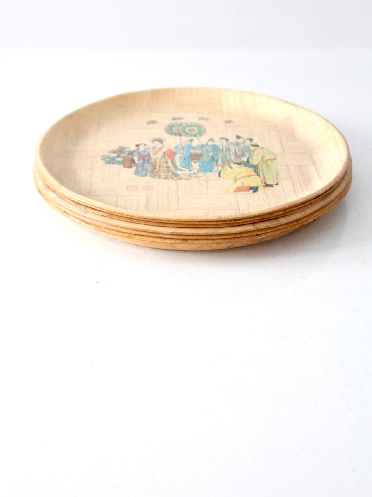 Vintage Chinese Bamboo Painted Plates - Set of 6 - Image 5 of 10  sc 1 st  Chairish & Vintage Chinese Bamboo Painted Plates - Set of 6 | Chairish