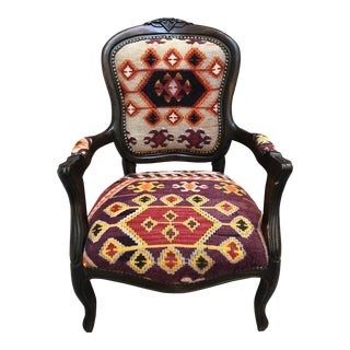 Boho Chic Hand Woven Kilim Rug Upholstered Chair From Turkey