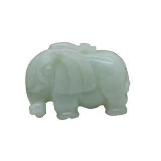 Hand Carved Natural Jade Lucky Feng Shui Elephant Pendant Figure For Sale