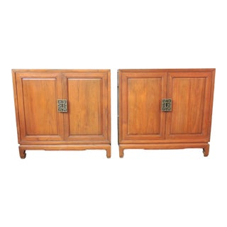 Vintage Solid Teak Asian China Storage Cabinets, File or Record Cabinets With Brass Hardware - a Pair For Sale